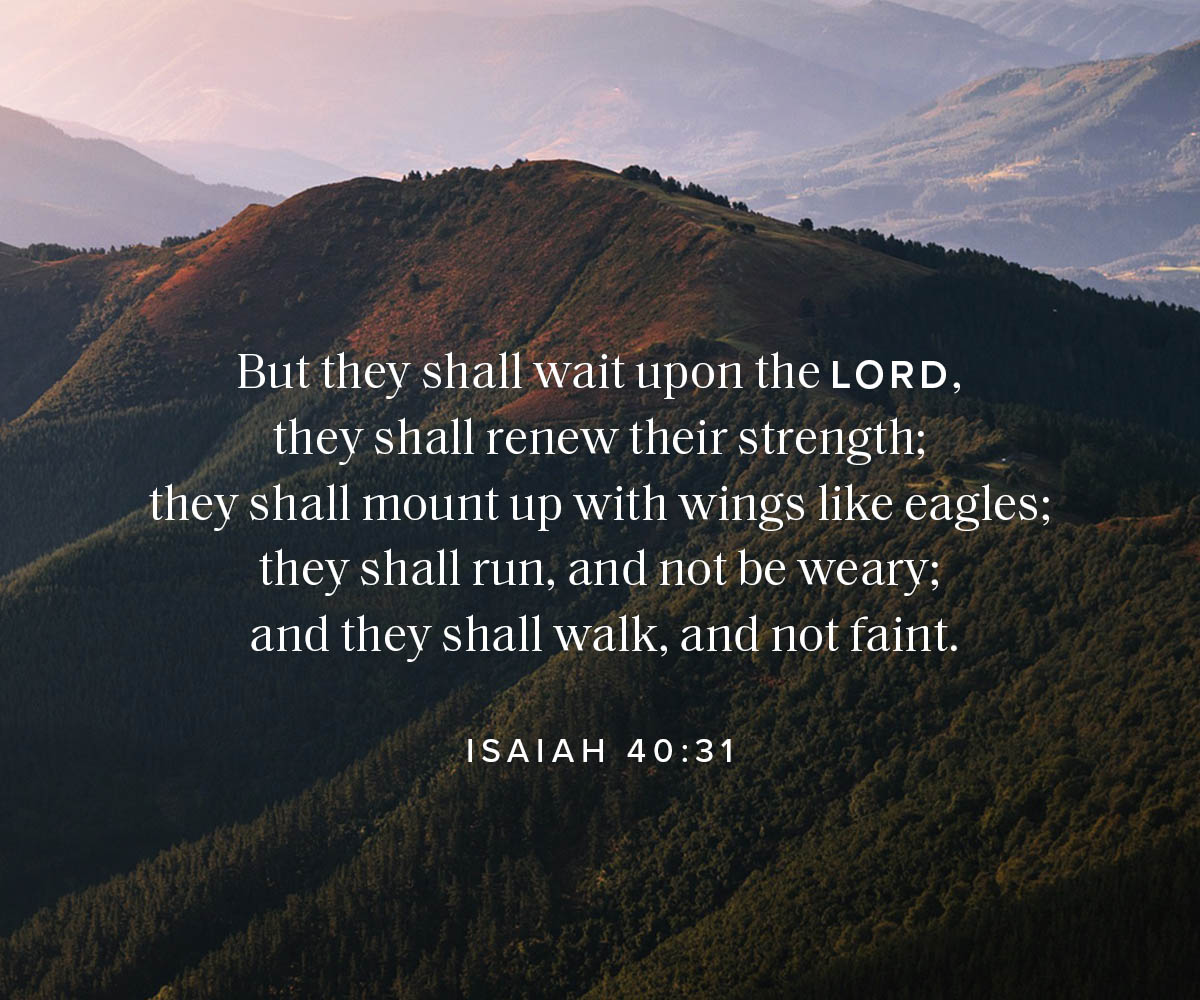 But they shall wait upon the Lord, they shall renew their strength; they shall mount up with wings like eagles; they shall run, and not be weary; and they shall walk, and not faint. Isaiah 40:31