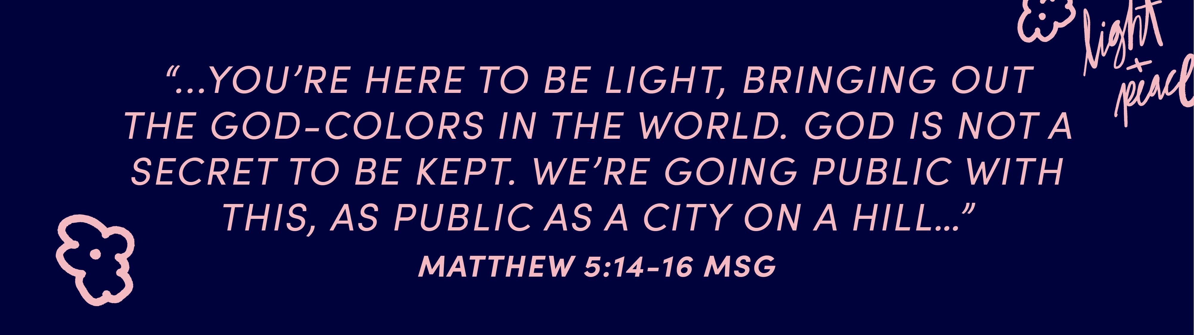 Matthew 5:14–16 MSG